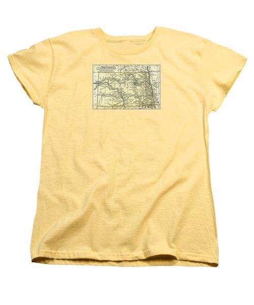 North Dakota Antique Map 1891 Women's T-Shirt (Standard Cut) by Phil Cardamone