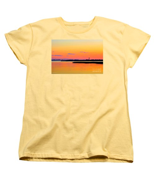 Oak Island Lighthouse Sunset Women's T-Shirt (Standard Cut) by Shelia Kempf