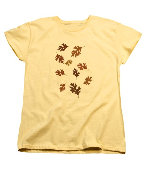 Oak Leaves Art Women's T-Shirt (Standard Cut) by Christina Rollo
