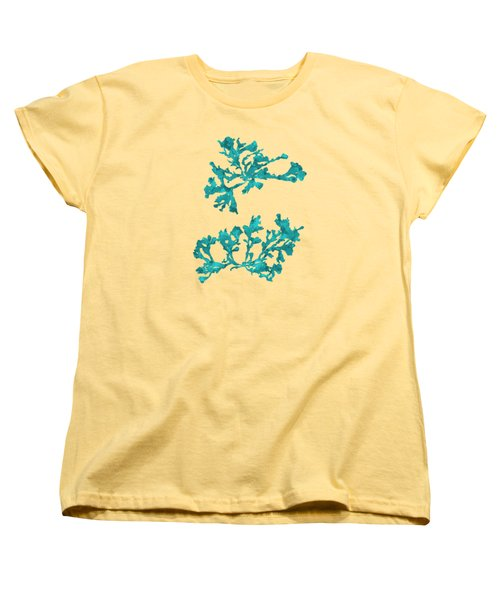 Women's T-Shirt (Standard Cut) featuring the mixed media Ocean Seaweed Plant Art Phyllophora Rubens by Christina Rollo