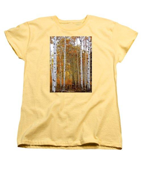 Women's T-Shirt (Standard Cut) featuring the photograph October Aspen Grove  by Deborah Moen