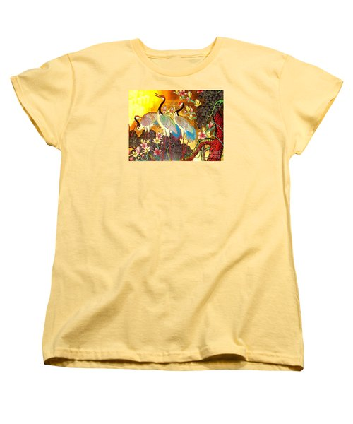 Old Ancient Chinese Screen Painting - Cranes Women's T-Shirt (Standard Cut) by Merton Allen