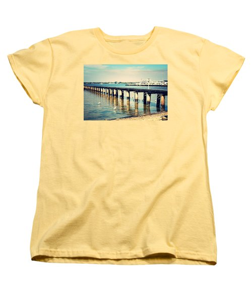Old Fort Myers Pier With Ibises Women's T-Shirt (Standard Cut) by Carol Groenen