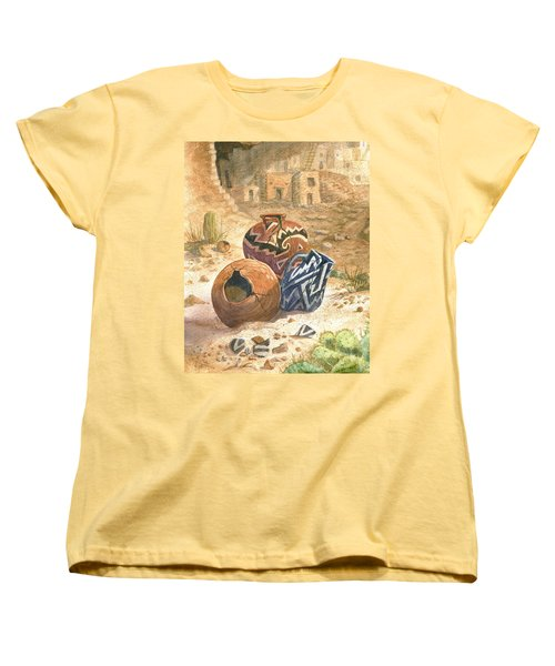Women's T-Shirt (Standard Cut) featuring the painting Old Indian Pottery by Marilyn Smith