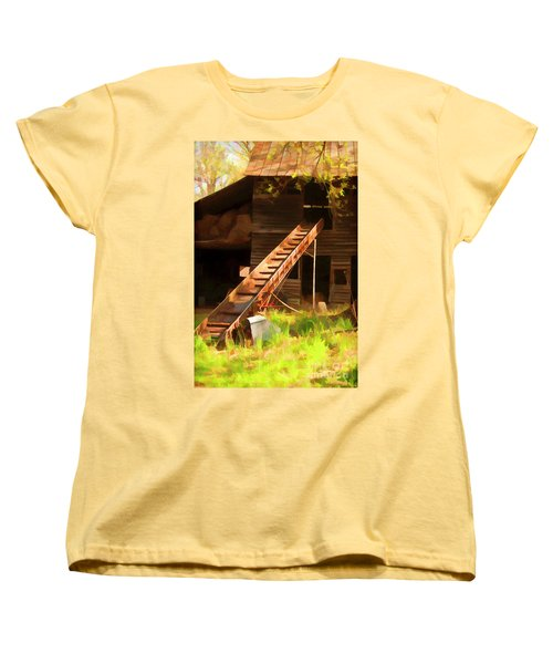 Women's T-Shirt (Standard Cut) featuring the photograph Old North Carolina Barn And Rusty Equipment   by Wilma Birdwell