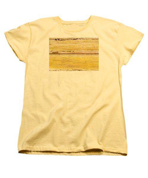 Women's T-Shirt (Standard Cut) featuring the photograph Old Yellow Paint On Wood by John Williams