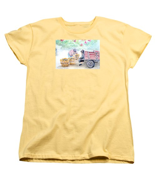 Women's T-Shirt (Standard Cut) featuring the painting Olive Pickers by Marilyn Zalatan