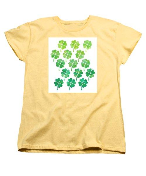 Ombre Shamrocks Women's T-Shirt (Standard Cut) by Whitney Morton