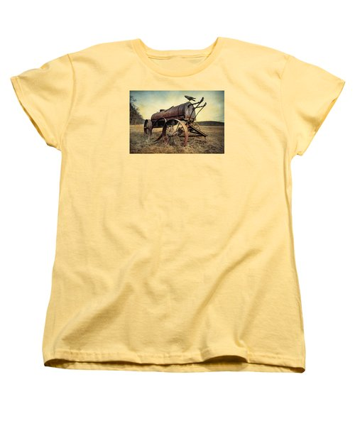 Women's T-Shirt (Standard Cut) featuring the photograph On The Water Wagon - Agricultural Relic by Gary Heller