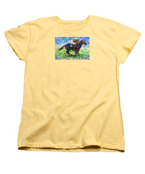 Women's T-Shirt (Standard Cut) featuring the painting One Body Length Ahead by Walter Fahmy