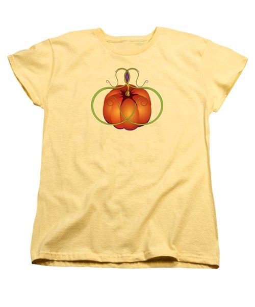 Orange Curvy Autumn Pumpkin Graphic Women's T-Shirt (Standard Cut) by MM Anderson