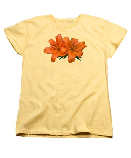 Orange Lily Women's T-Shirt (Standard Cut) by Jane McIlroy