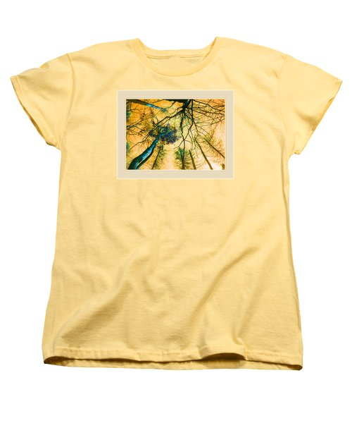 Orange Sky Tree Tops Women's T-Shirt (Standard Cut) by Felipe Adan Lerma