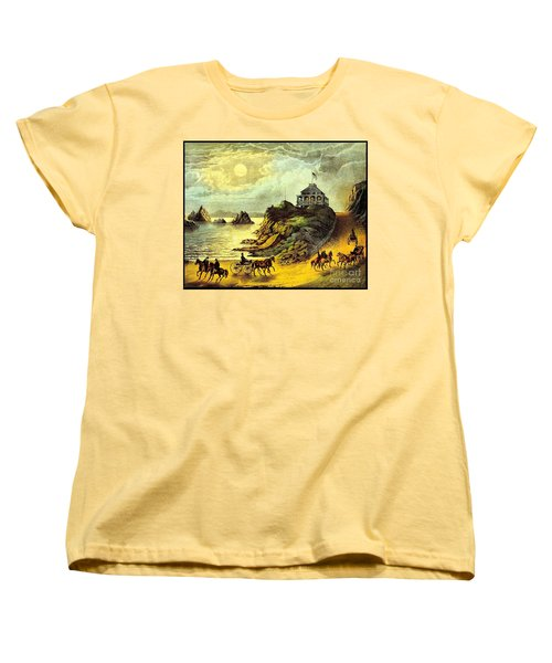 Women's T-Shirt (Standard Cut) featuring the painting Original San Francisco Cliff House Circa 1865 by Peter Gumaer Ogden