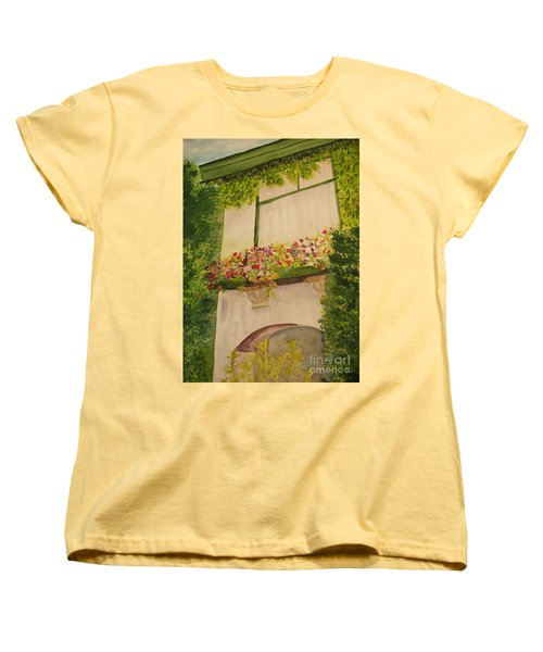 Women's T-Shirt (Standard Cut) featuring the painting Overlooking Butchard Gardens  by Vicki  Housel