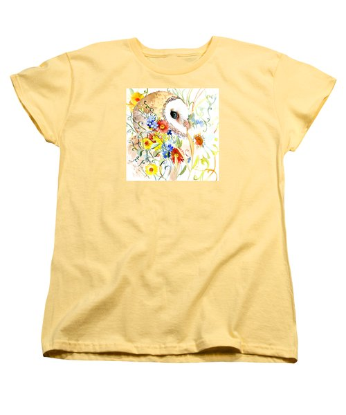 Owl And Flowers Women's T-Shirt (Standard Cut) by Suren Nersisyan