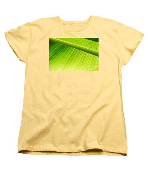 Women's T-Shirt (Standard Cut) featuring the painting Palm Leaf Background by Yurix Sardinelly