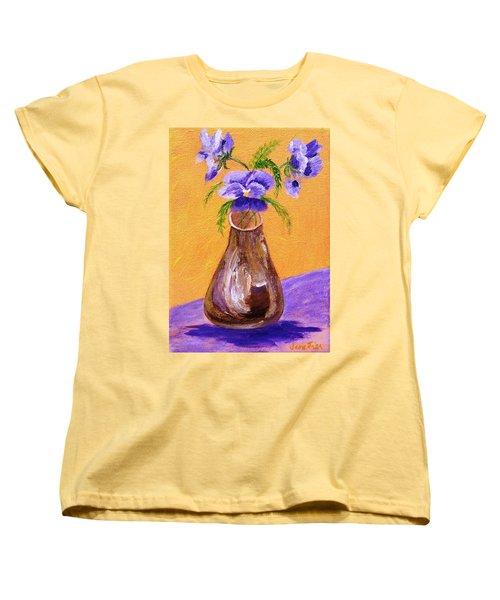 Pansies In Brown Vase Women's T-Shirt (Standard Cut) by Jamie Frier