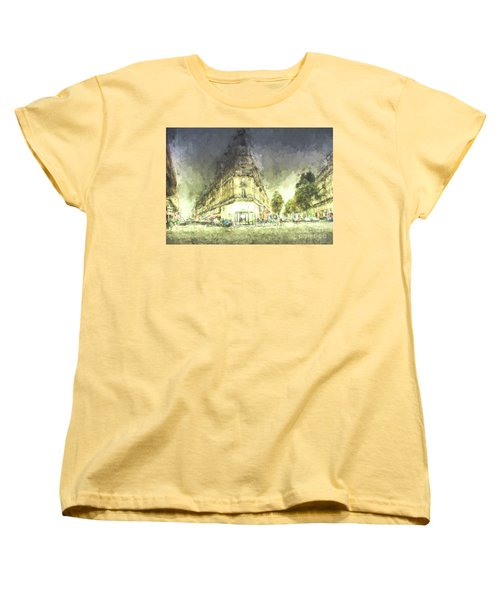 Women's T-Shirt (Standard Cut) featuring the mixed media Paris Streets by Jim  Hatch