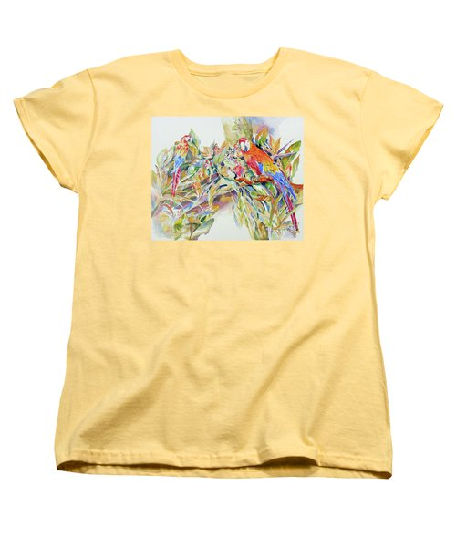 Women's T-Shirt (Standard Cut) featuring the painting Parrots In Paradise by Mary Haley-Rocks