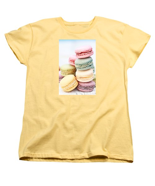 Pastel Macarons Women's T-Shirt (Standard Cut) by Stephanie Frey
