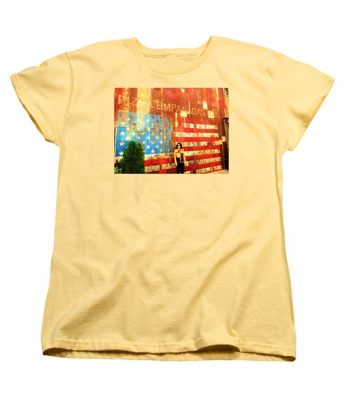Patriotic Empanadas Wall In New York  Women's T-Shirt (Standard Cut) by Funkpix Photo Hunter