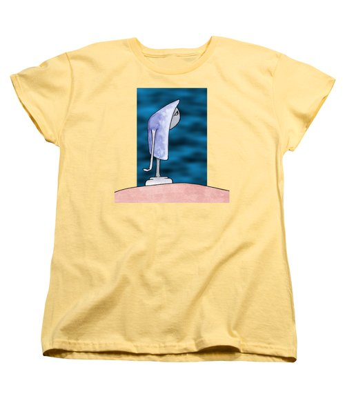 Women's T-Shirt (Standard Cut) featuring the drawing Pensive by Uncle J's Monsters