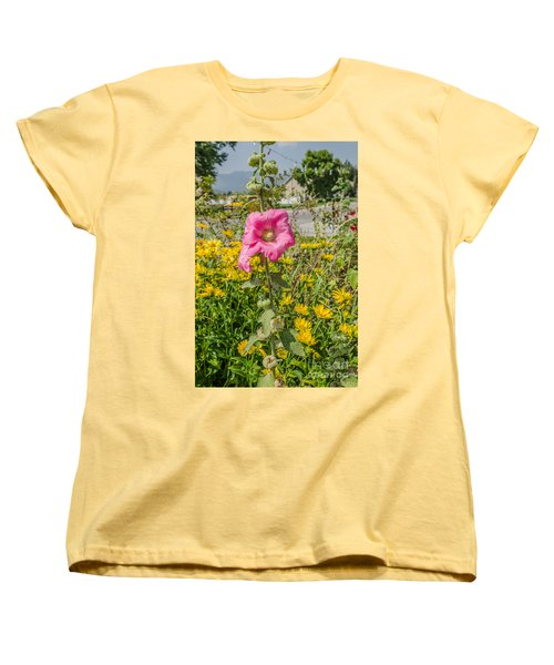 Perfect Pink Hollyhocks Women's T-Shirt (Standard Cut) by Sue Smith