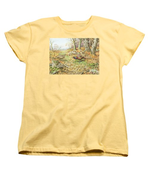 Pheasants With Blue Tits Women's T-Shirt (Standard Cut) by Carl Donner