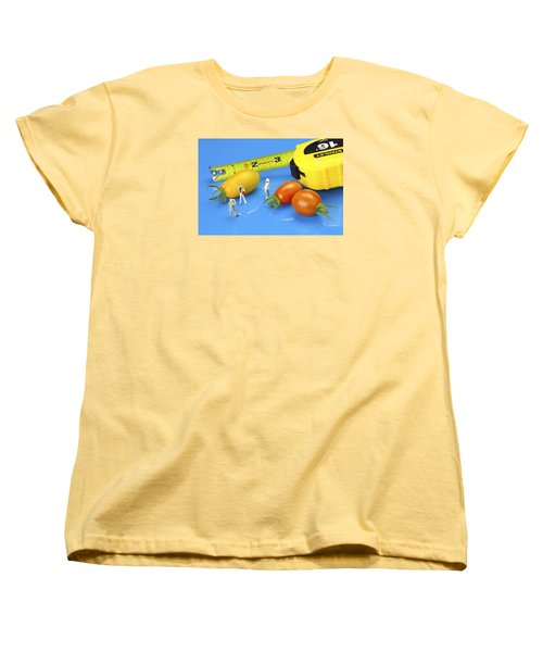 Women's T-Shirt (Standard Cut) featuring the photograph Photography Of Tomatoes Little People On Food by Paul Ge