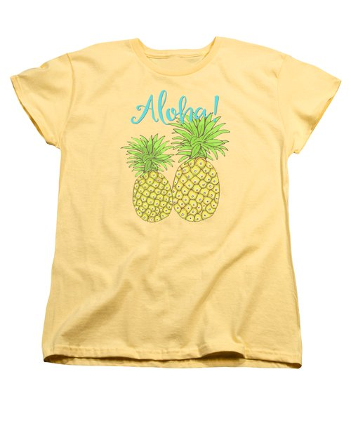 Pineapple Aloha Tropical Fruit Of Welcome Hawaii Women's T-Shirt (Standard Cut) by Tina Lavoie