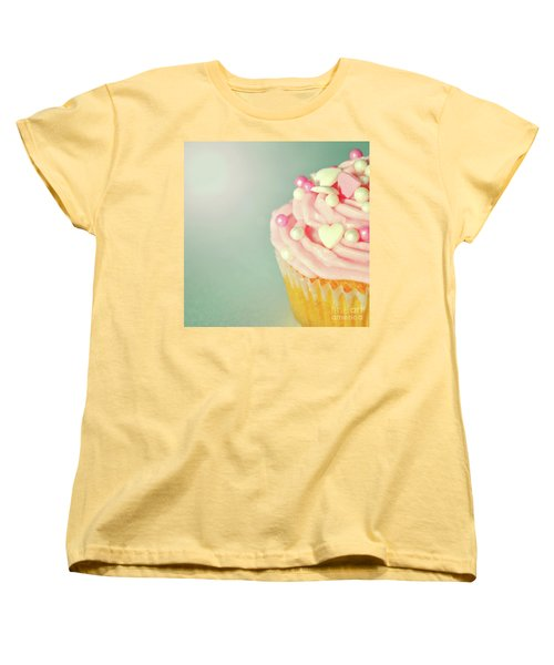 Women's T-Shirt (Standard Cut) featuring the photograph Pink Cupcake With Lovehearts by Lyn Randle