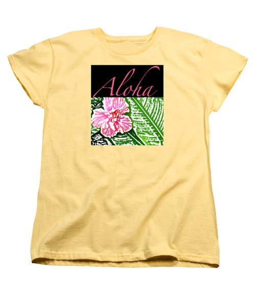 Pink Hibiscus Aloha Women's T-Shirt (Standard Cut) by James Temple