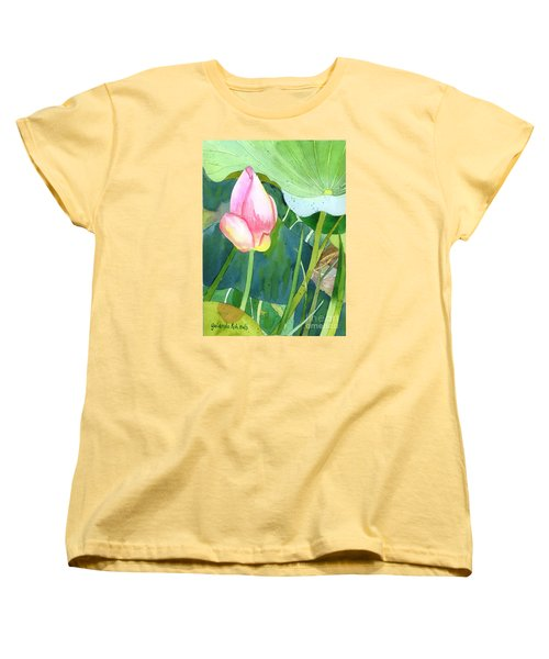 Pink Lotus Women's T-Shirt (Standard Cut) by Yolanda Koh