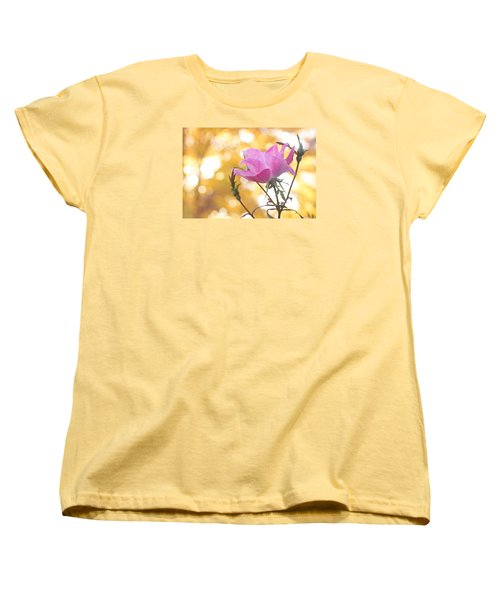 Women's T-Shirt (Standard Cut) featuring the photograph Pink Rose In The Light Of Fall by Trina  Ansel