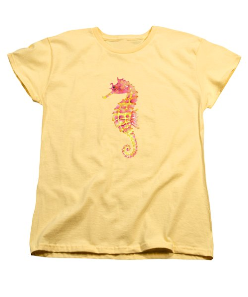 Pink Yellow Seahorse Women's T-Shirt (Standard Cut)