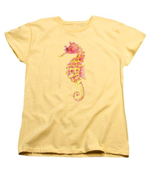 Pink Yellow Seahorse - Square Women's T-Shirt (Standard Cut) by Amy Kirkpatrick