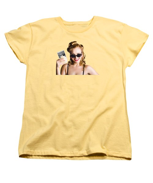 Pinup Girl Holding Sea Shell And Photo Women's T-Shirt (Standard Cut) by Jorgo Photography - Wall Art Gallery