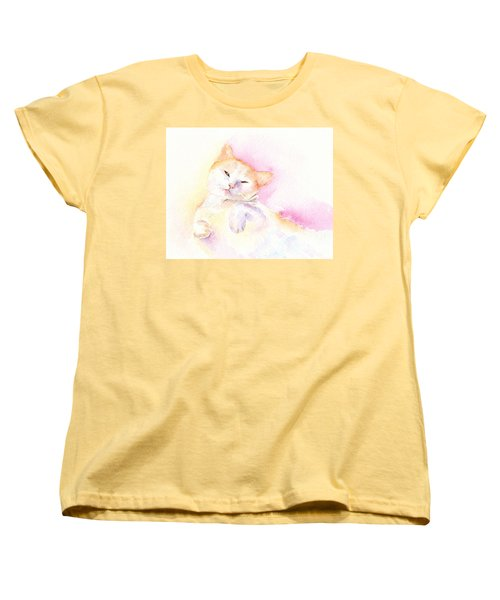 Women's T-Shirt (Standard Cut) featuring the painting Playful Cat II by Elizabeth Lock