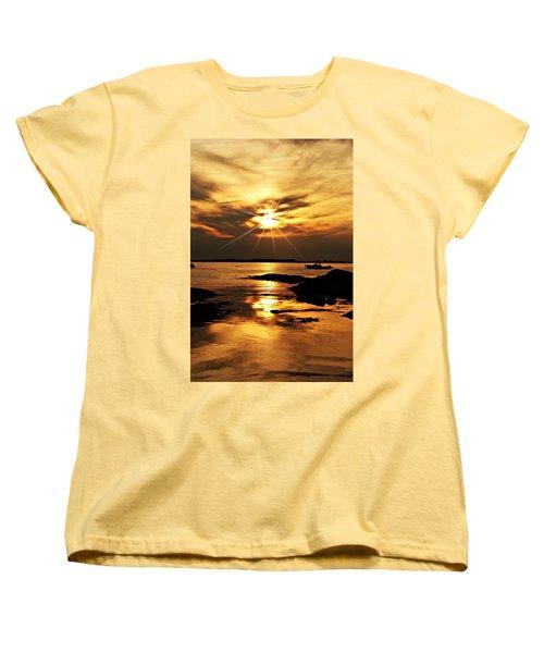 Plum Cove Beach Sunset E Women's T-Shirt (Standard Cut) by Joe Faherty