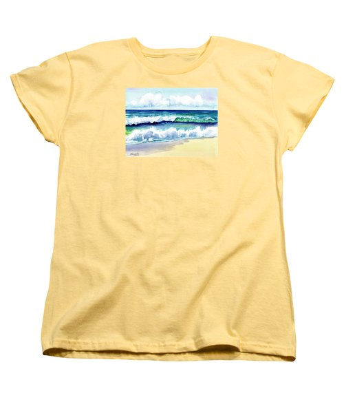 Women's T-Shirt (Standard Cut) featuring the painting Polhale Waves 3 by Marionette Taboniar