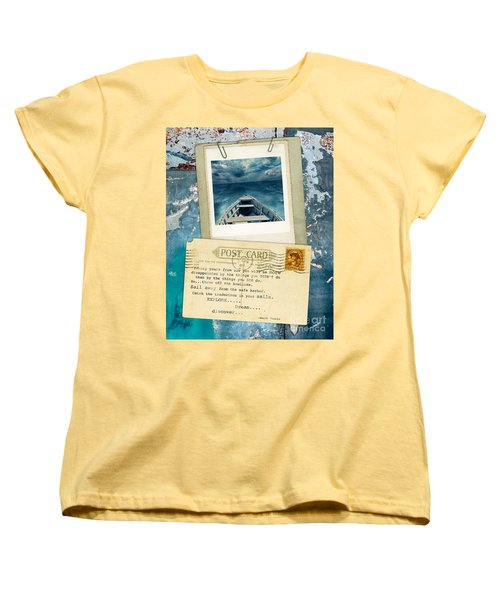 Poloroid Of Boat With Inspirational Quote Women's T-Shirt (Standard Cut) by Jill Battaglia