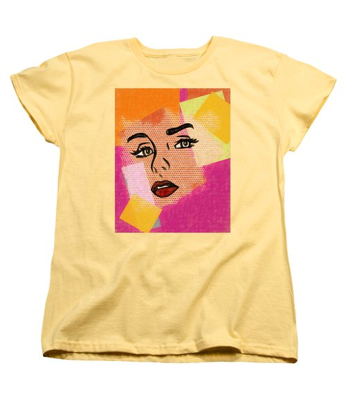 Women's T-Shirt (Standard Cut) featuring the mixed media Pop Art Comic Woman by Dan Sproul