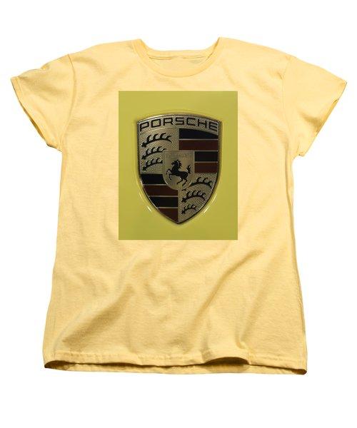 Porsche Emblem On Racing Yellow Women's T-Shirt (Standard Cut)