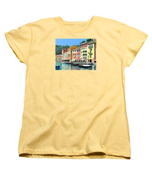 Women's T-Shirt (Standard Cut) featuring the painting Portofino Sunshine 30 X 40 by Michael Swanson