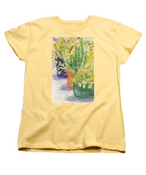 Women's T-Shirt (Standard Cut) featuring the painting Potted Beauties  by Vicki  Housel