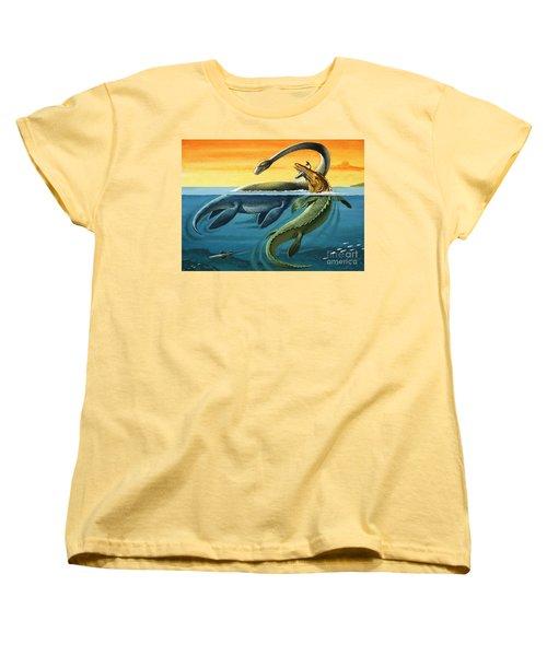 Prehistoric Creatures In The Ocean Women's T-Shirt (Standard Cut)