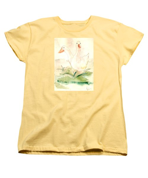 Women's T-Shirt (Standard Cut) featuring the painting Pretty Pekins by Denise Tomasura