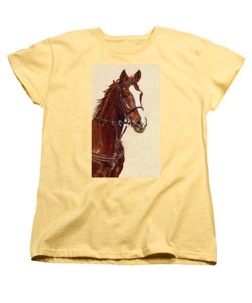Proud - Portrait Of A Thoroughbred Horse Women's T-Shirt (Standard Cut) by Patricia Barmatz