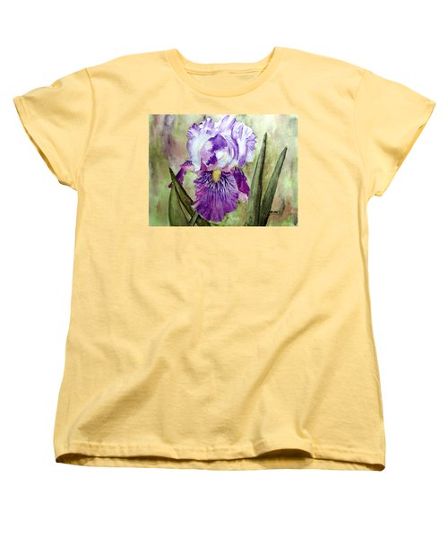 Women's T-Shirt (Standard Cut) featuring the painting Purple Beauty by Carol Grimes